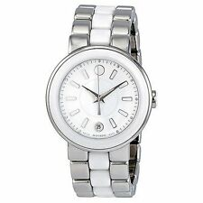 NEW Movado Cerena White Dial Stainless Steel and Ceramic Ladies Watch 0606539