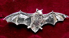 Superb Pewter Gothic Flying Wings Spread Bat Brooch Pin
