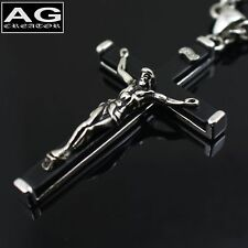 """Black rosary style Jesus cross heavy 5 mm 22"""" chain necklace US SELLER"""