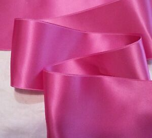 """2-3/4"""" WIDE SWISS DOUBLE FACE SATIN RIBBON - HOT PINK"""