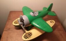 GREEN TOYS SEA PLANE RECYCLED PLASTIC GREEN/YELLOW FLOATER MADE IN USA EUC