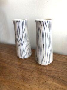 """West Elm Vase Blue Stripes / Wavy Vertical Lines - 8 5/8"""" Tall ( Set Of 2)"""