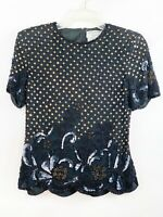 Papell Top Boutique Evening Blouse Silk Sequins Beaded Formal Size Small Shirt