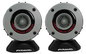 """Pyramid 3.75"""" 300W LOUD Car Audio Aluminum Bullet Horn Tweeters, Pair   TW28"""