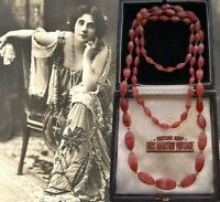 ANTIQUE ART DECO 1920s BOHEMIAN CZECH CORAL SATIN GLASS BEADS NECKLACE KNOTTED