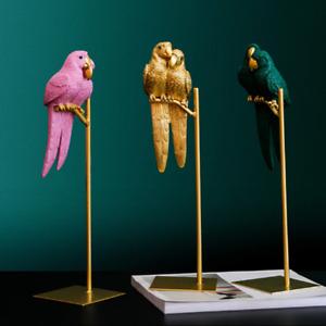Resin Parrot Sculpture Bird Crafts Ornaments Gold Modern Home Decoration