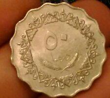Libya 50 dirhams 1975 fifty qirsh Middle East coin:020218 high grade