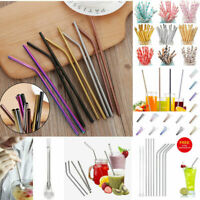 Reusable Colorful Stainless Steel Drinking Straws Straight / Bent Washable Brush