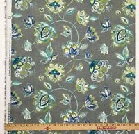 """30""""  Floral Gray Blue Flowers Screen Print Home Decor Fabric 54"""""""
