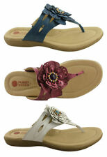 Leather Flip Flops Casual Floral Shoes for Women