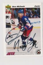 91/92 Upper Deck Dave McLlwain Winnipeg Jets Autographed Hockey Card
