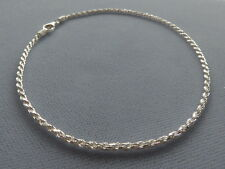 "10"" Sterling Silver Rope Style Ankle Bracelet- 2mm- Italy 925"