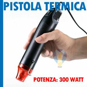 PISTOLA TERMICA ARIA CALDA NERO 300 WATT 220 VOLT PER GUAINA HOBBY FAI DA TE