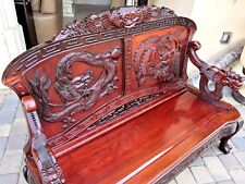 ANTIQUE CHINESE HAND CARVED ROSEWOOD DRAGON & BIRD BENCH SOFA BEAUTIFUL