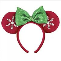 Disney Park Minnie Mouse Snowflake Ear Sequin Bow Christmas Holiday Headband NEW