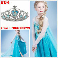 Kids Girls Dresses Disney Elsa Frozen dress costume Princess Anna party dresses#