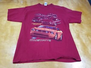 Ford Mustang Red Legendary Muscle Car History Shirt Cars Vintage Style Sz L