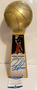 "Dennis Rodman Signed Bulls 14"" Rep Championship Basketball Trophy Beckett-W COA"