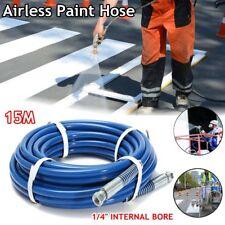 50'' 15m 3300PSI Airless Paint Spray Gun Tip Extension Hose Fiber Tube  B