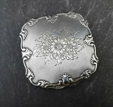 Vintage 1950's sterling silver compact, floral
