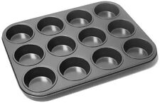 12 Deep Mould Cup Non Stick Muffin Fairy Cake Tin Yorkshire Pudding Baking Tray