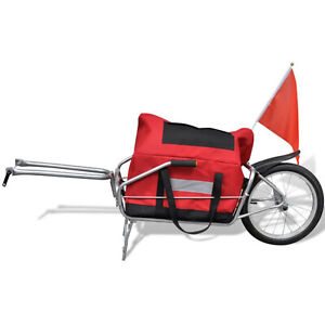 One Wheel Bicycle Cargo Trailer Trolley with Storage Bag Bike Accessories Red