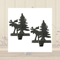 Rustic Moose and Tree Christmas Stocking Holders Hangers Heavy Cast Iron Set 2