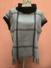 Ladies Wool Jumper UK 16 Top Poncho 44 Fringe Black Runo Lightweight Grey Roll