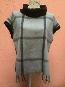 Ladies Black Tunic UK 16 Top 44 Tabard Wool Fringe Jumper Runo Light Grey Roll