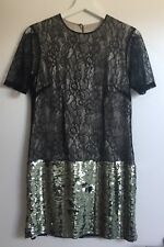 37d22fe50ee By Marlene Birger Lace Mini Dress With Sequin Skirt, Size 34 (UK 8)