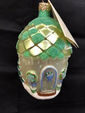 Patricia Breen Designs Winter Acorn House Snowman Blue Vintage Glass Ornament