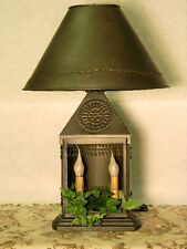 60% off Sale Ship Lamp with Patch Shade Colonial Primitive Rustic Country *NICE*