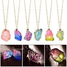 Luxury Natural Rainbow Stone Crystal Chakra Rock Chain Quartz Pendant Necklace