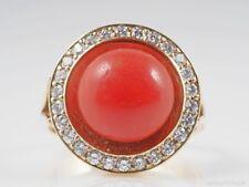 vintage Ring 5,82 Karat Brillanten und Koralle 585 Gelb Gold 14 Karat