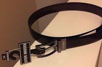 STEVE MADDEN Men's 34 REVERSIBLE BLACK/BROWN Leather Black Buckle Fashion Belt