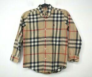Burberry Boys Tan Black & Red Plaid Long Sleeve Button Down Shirt Cotton 10Y