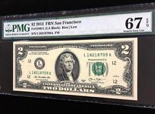 Banknote USA 2 dollar 2013 federal reserve note (LA Block) Rios / Lew PMG 67 EPQ