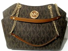 NWT Michael Kors Brown PVC Jet Set Travel Large Chain Shoulder Tote Bag MK