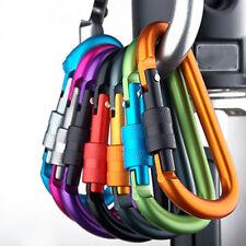 5X Aluminum Carabiner D-Ring Clip Hook Camping Keychain Screwgate Screw Locking