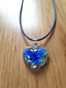 Murano Glass Lampwork Heart Pendant Necklace leather blue flower gift