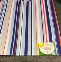 NEW SET OF 4 INDOOR-OUTDOOR Reversible Placemats--Multi Colors Polyester-