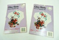 2 Christmas Glitzy Shirts  & Fabric Appliques Iron on Kits #33108 Red Poinsettia