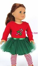 Candy Cane Christmas Dress + Leggings 18 in Doll Clothes Fits American Girl
