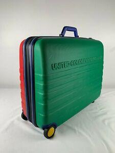 "Retro Vtg 90s United Colors Of Benetton Hard Shell Rolling Suitcase 25""x 20"" EUC"