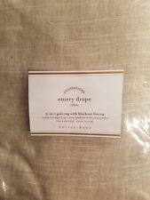 """2 Pottery Barn Emery Pole Top With Blackout Lining Drapes ~ 100"""" X 84"""" ~ OATMEAL"""