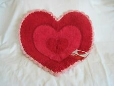 """Heart Bath Rug Red/Pink Crochet Trim 22""""x22"""" New w/Tags 100% Cotton Pile"""