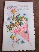 Vtg Mid-Century Greeting Card Girl New Baby Shower Pink Umbrella Angels Glitter