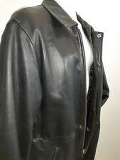 "Jim & Marylou Mens Black Heavy Butter Soft Leather Removable Liner Jacket L 50"""