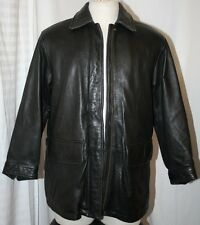 EDDIE BAUER mens AVIATOR BUMBER JACKET SUPPLE GRAIN leather COAT BLACK  S $400