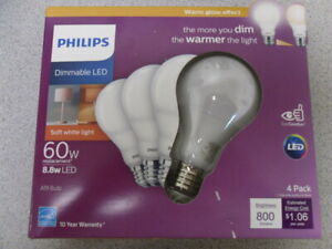 Philips LED Dimmable 60w A19 Light Bulb Phillips Warm Glow Effect 800-Lumen 4 PK